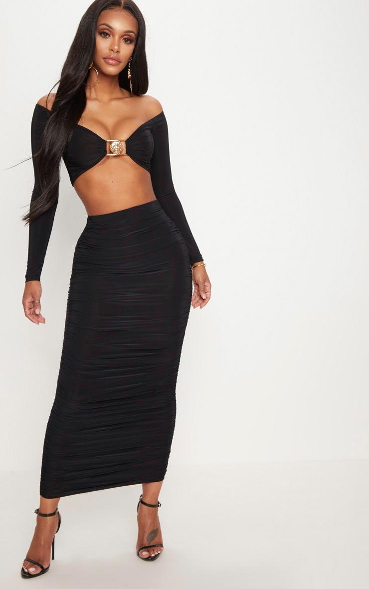 Shape Black Slinky Ruched Midaxi Skirt 1