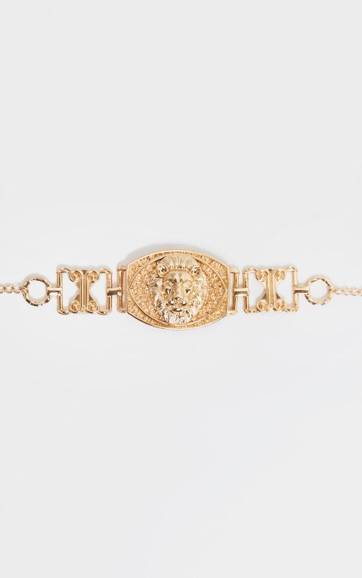 Gold Lions Head Charm Chain Belt 2