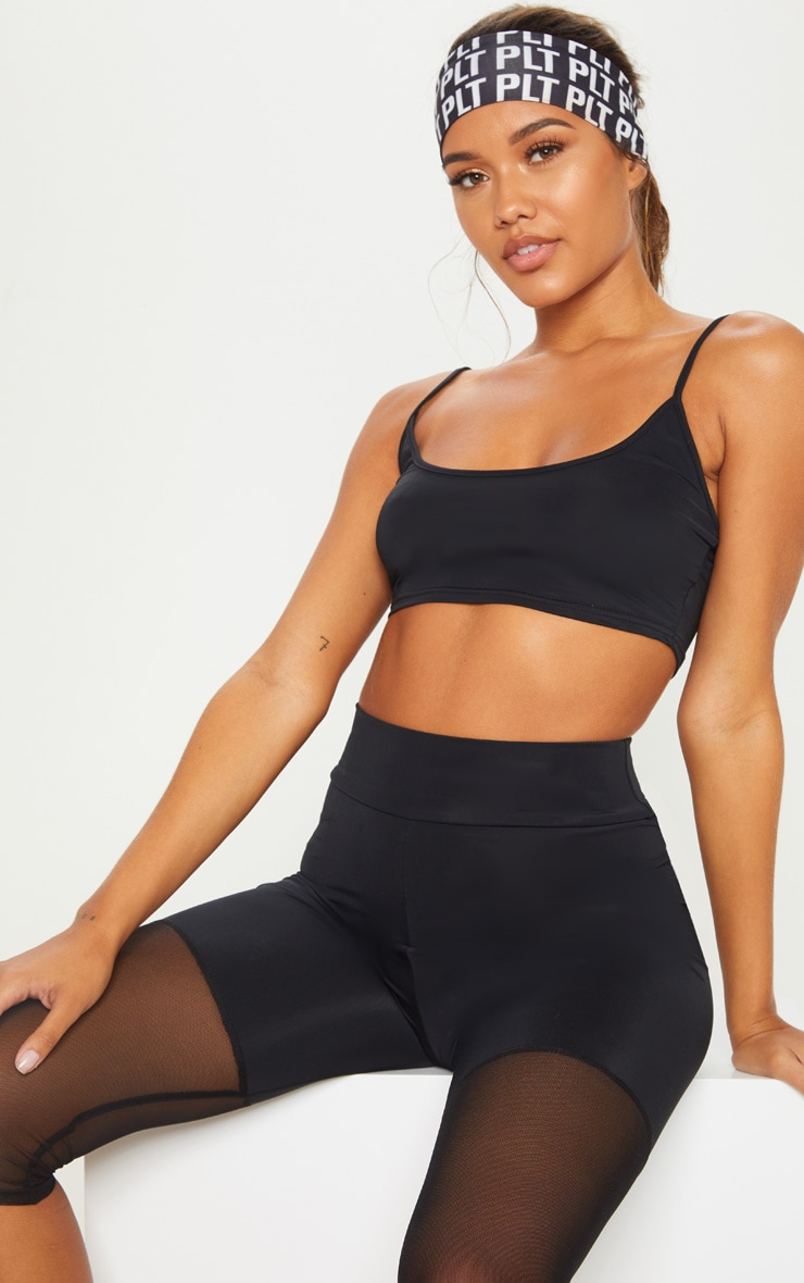 Black Basic Gym Crop Top 1