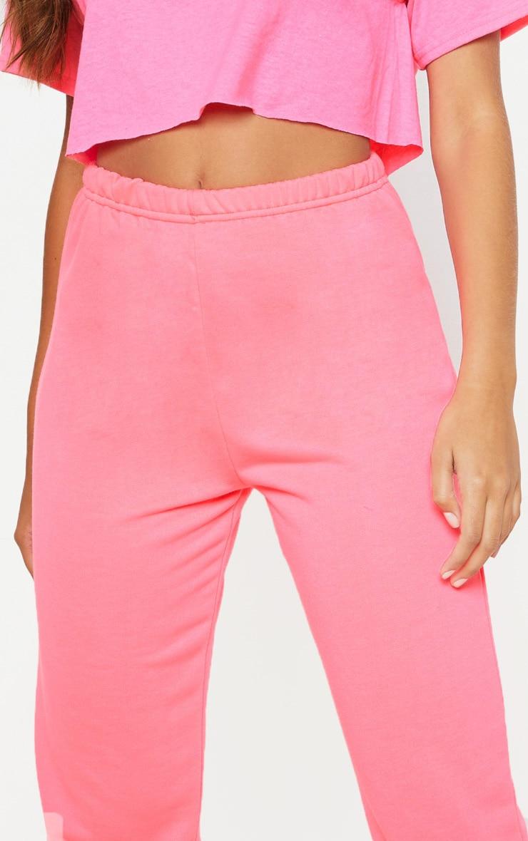 Neon Pink Basic Cuffed Hem Jogger 5