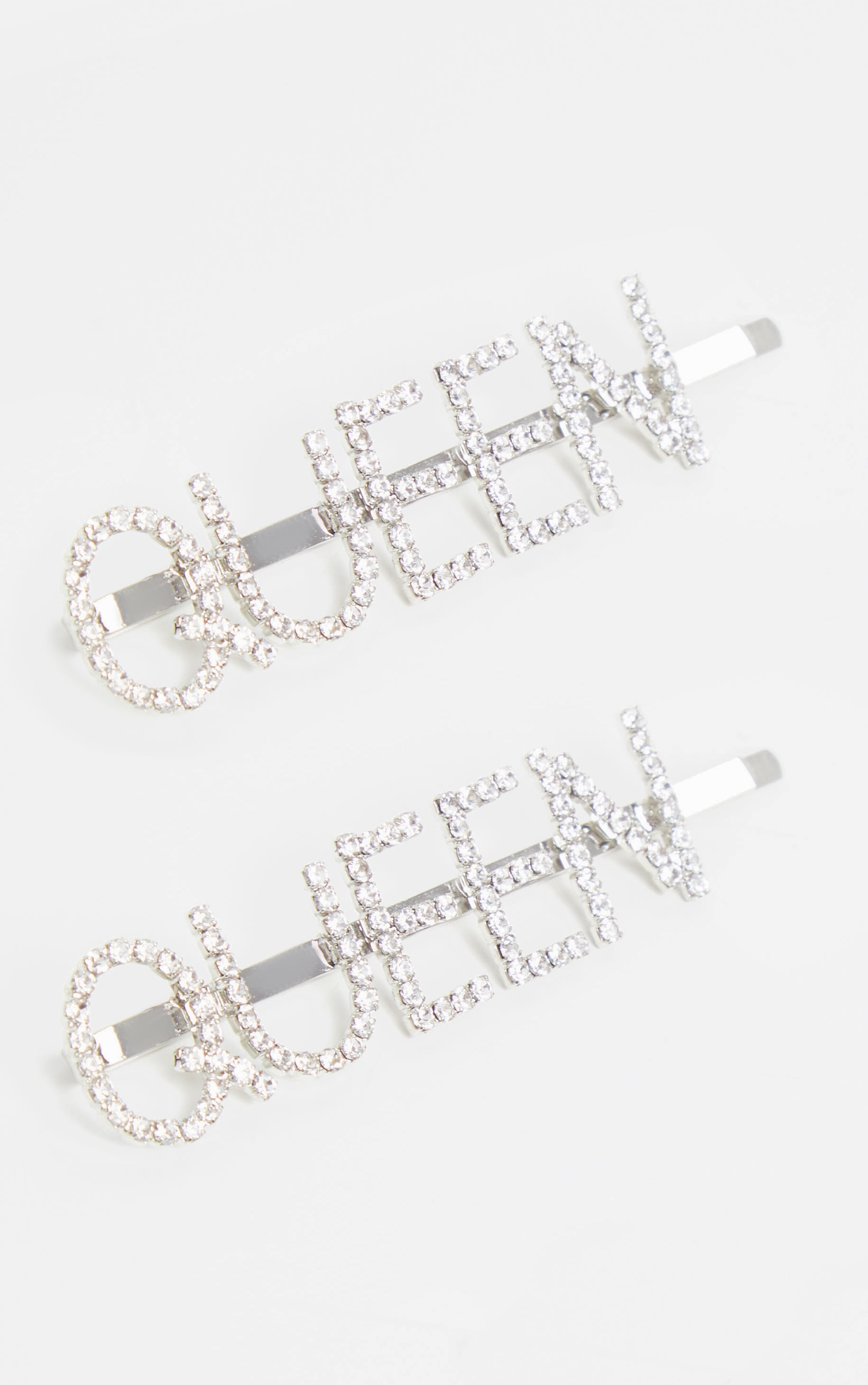 Silver Diamante Queen Slogan Left And Right Two Pack Hair Slides 2
