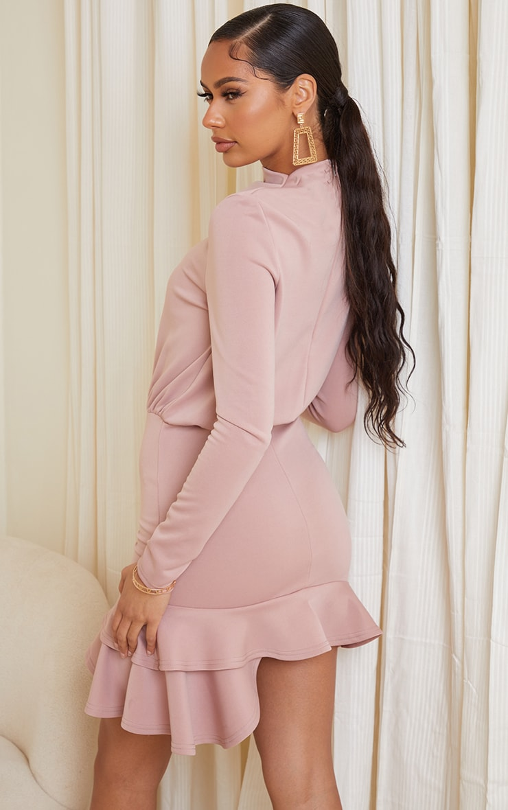 Dusty Pink Shoulder Pad Frill Hem Bodycon Dress 2