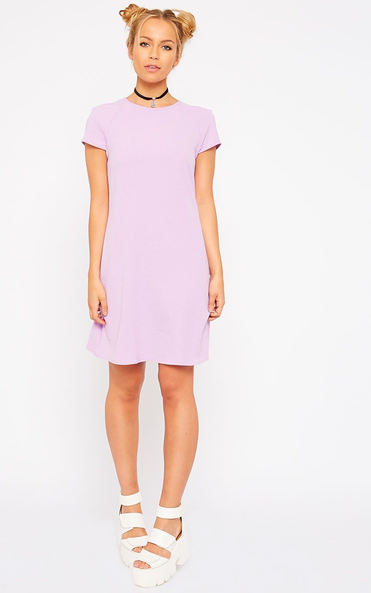 Sabra Lilac Waffle Loose Fit Shift Dress 3