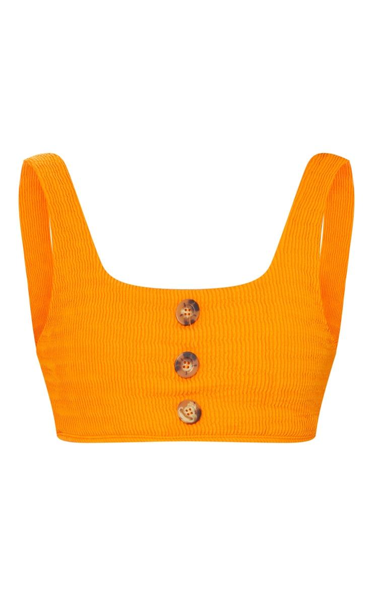 Orange Crinkle Button Down Scoop Bikini Top 5
