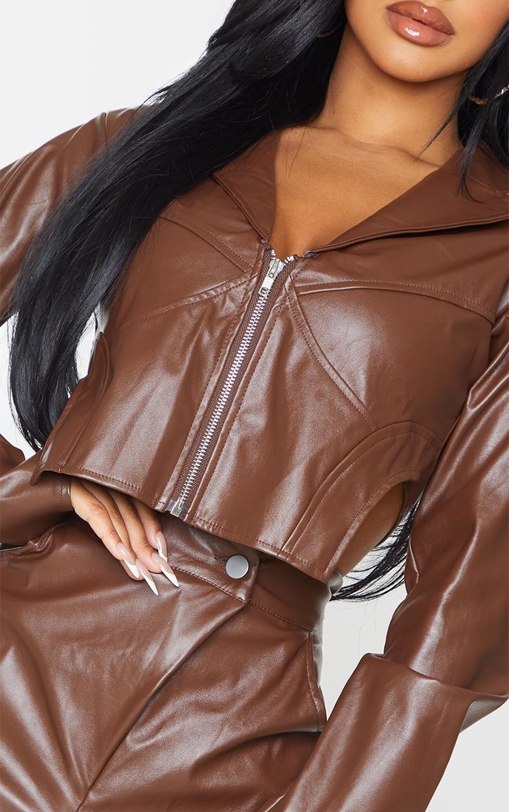 Petite Chocolate Pu Corset Detail Cropped Blazer 4