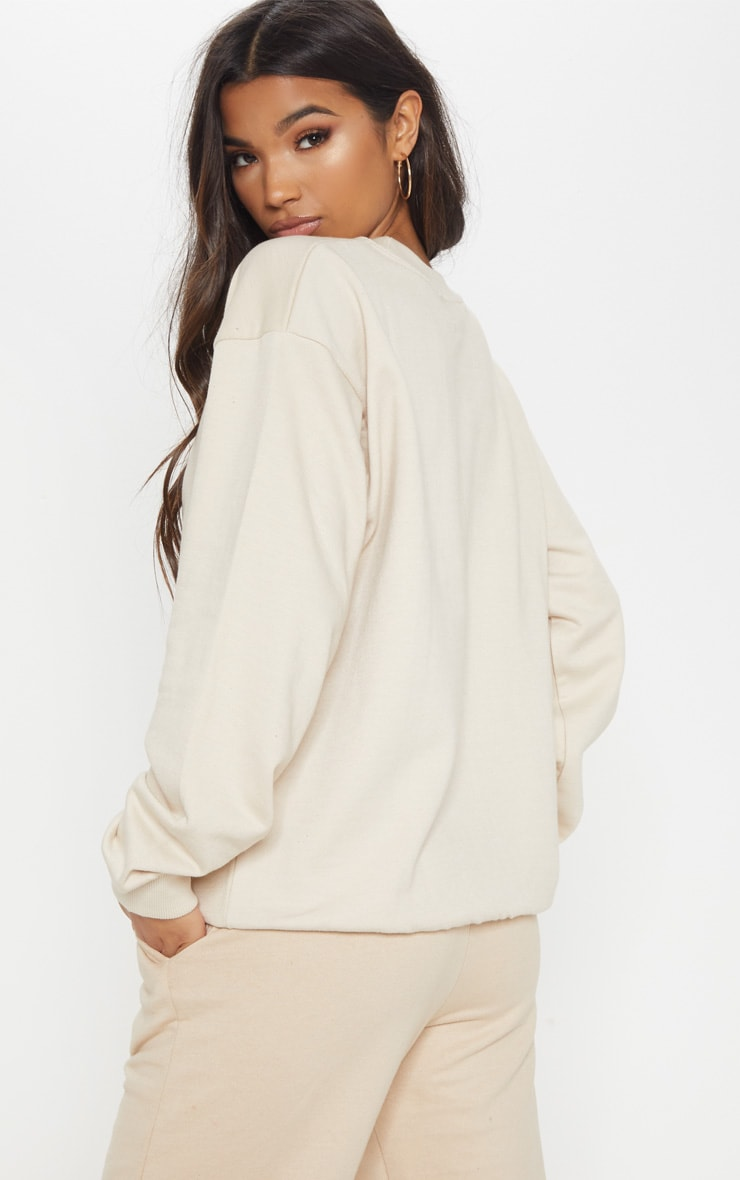 PRETTYLITTLETHING Sand Embroidered Oversized Sweater 2