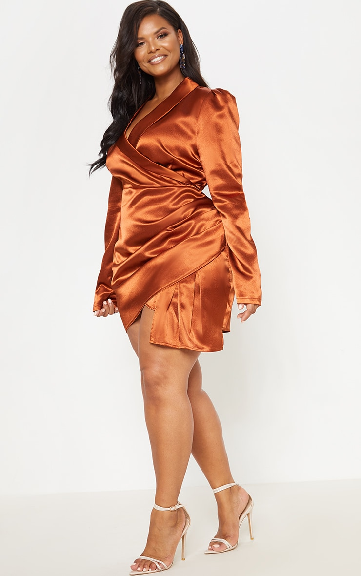 Rust Satin Wrap Over Ruched Bodycon Dress 5