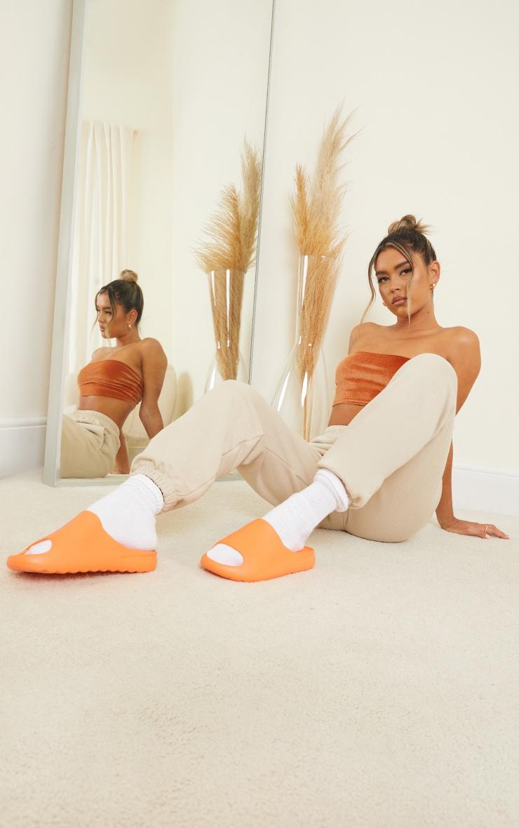 Orange Rubber Ribbed Sole Sliders