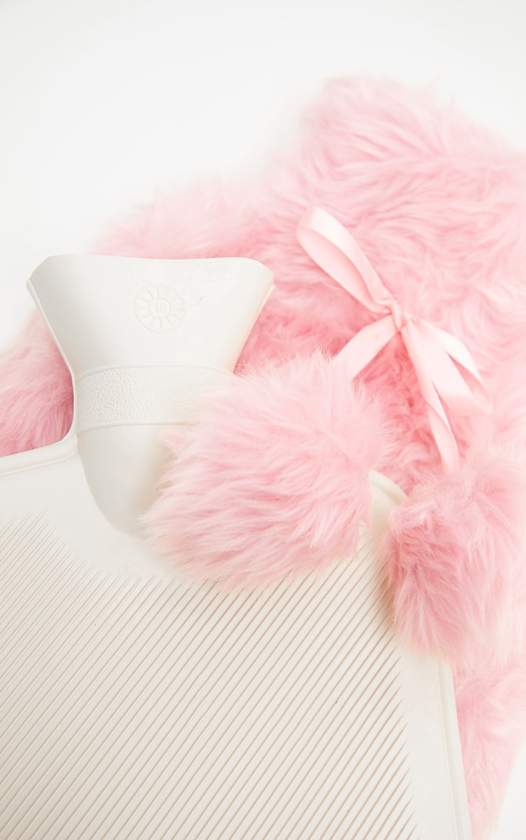 Pink Faux Fur Hot Water Bottle 4