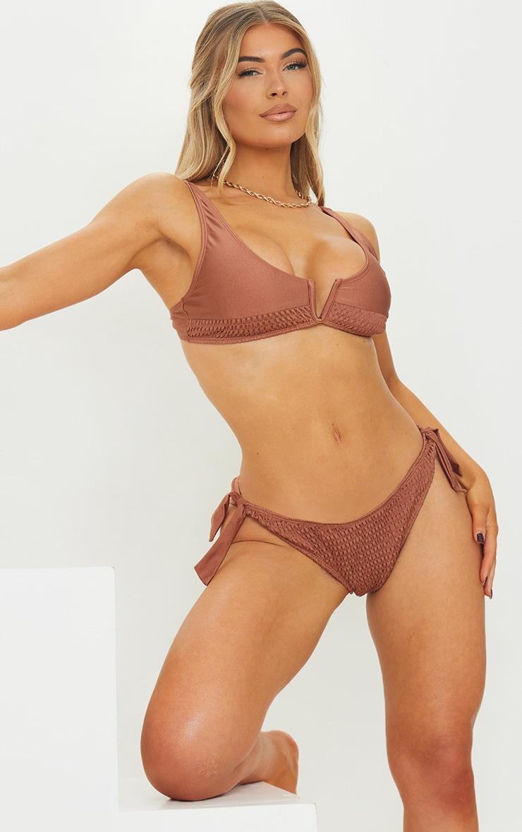 Chocolate Smocked V Wire Bikini Top