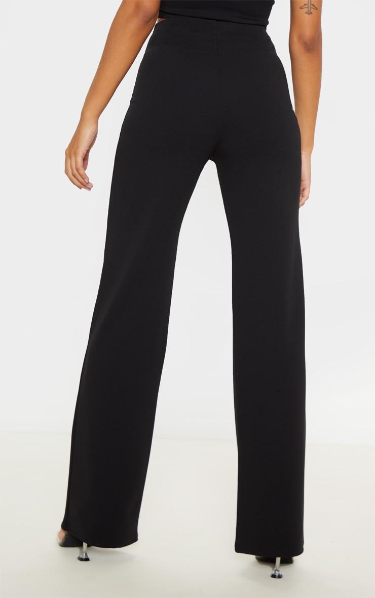 Black Crepe High Waisted Wide Leg Pants 4