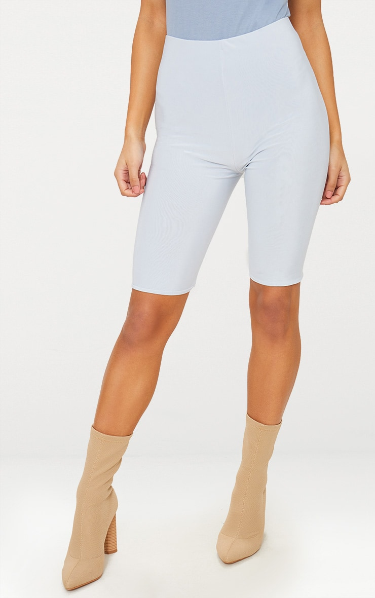 Pale Blue Slinky Longline Cycle Short 2