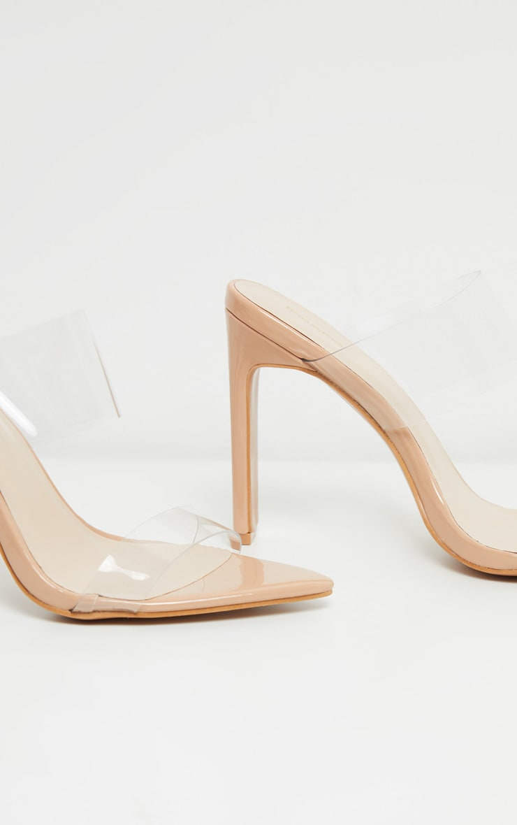 Nude Twin Strap Point Toe Mule Sandal 4