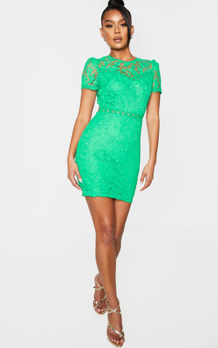 Green Lace Backless Cap Sleeve Bodycon Dress 3