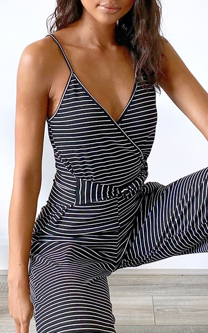 Black Stripe Rib Strappy Wrap Culotte Jumpsuit 4