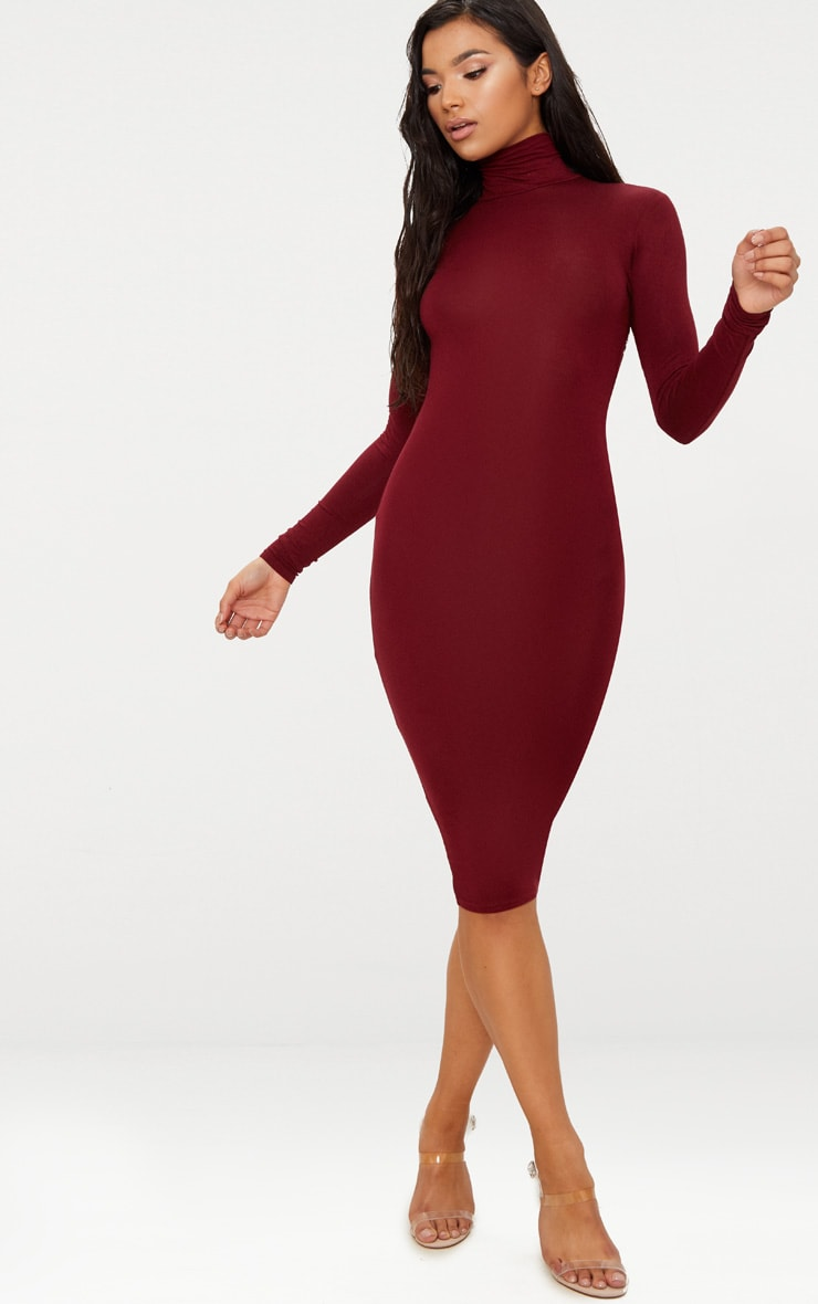 Basic Burgundy Roll Neck Midi Dress