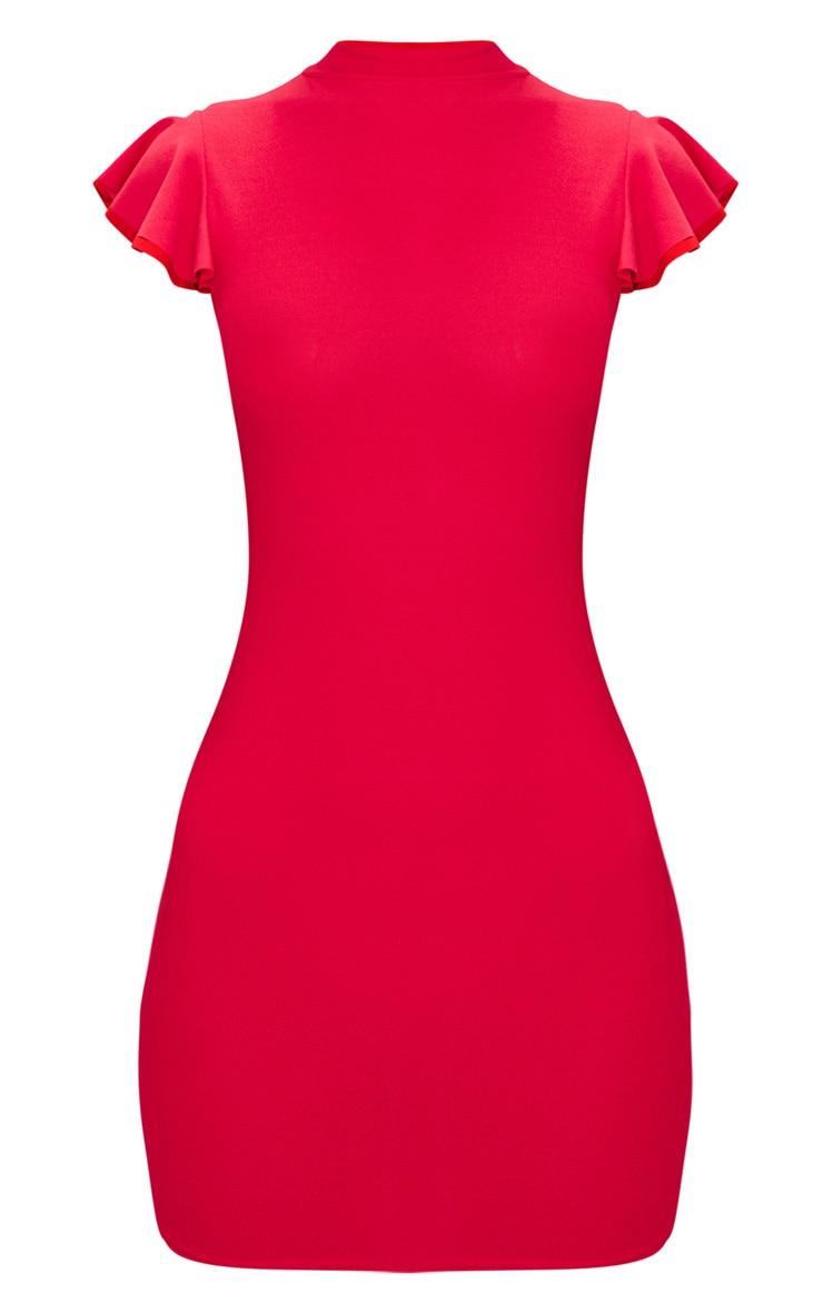 Robe moulante rouge à manches courtes et col haut 3