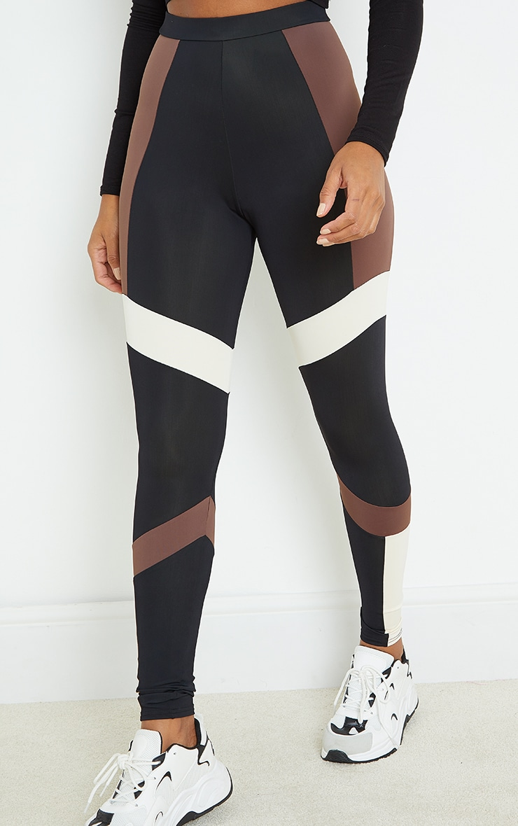 Brown Mono Panel Gym Leggings 2