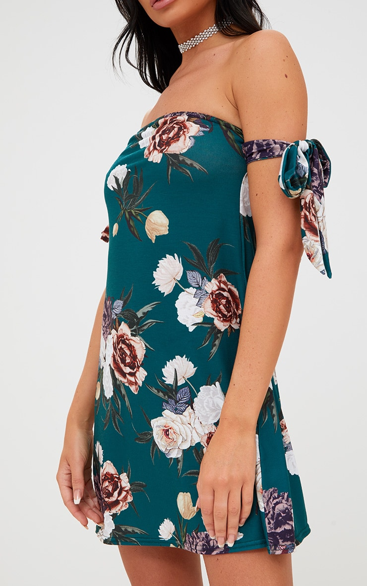 Green Floral Bardot Tie Sleeve Shift Dress 5