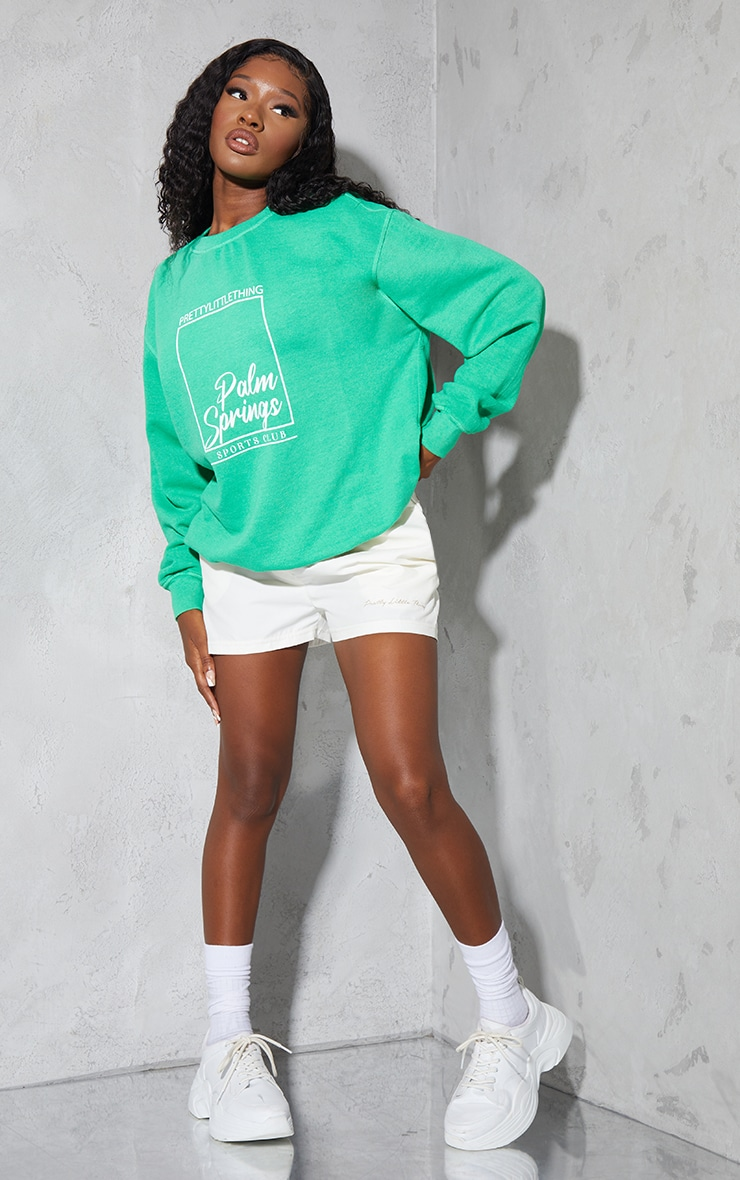 PRETTYLITTLETHING Bright Green Palm Springs Print Sweatshirt 3