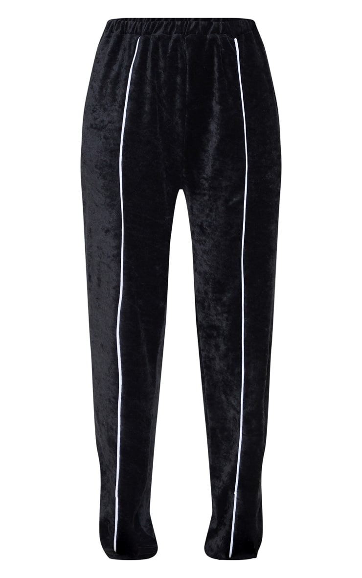 Black Contrast Velour Stripe Jogger 3