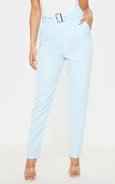 Pastel Blue Belted Tailored Trouser