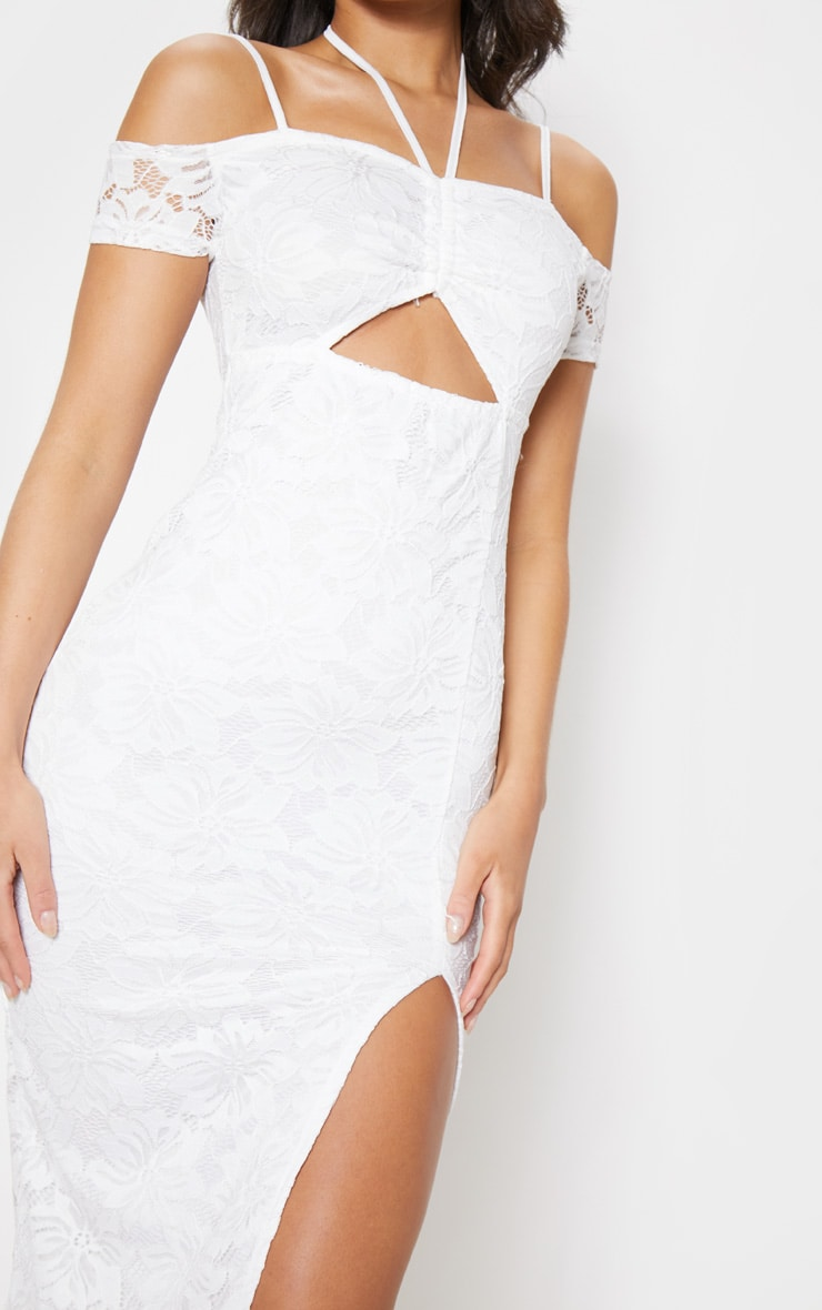 White Lace Ruched Cut Out Midi Dress 5