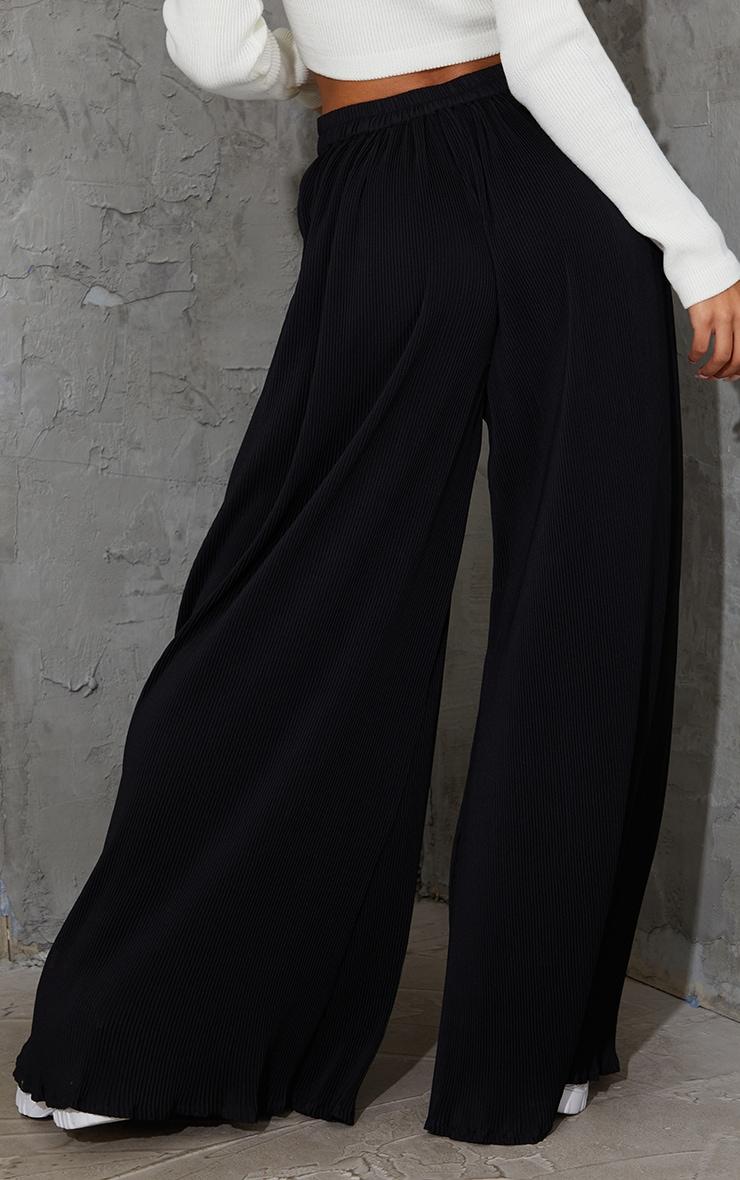 Black Plisse Lettuce Hem Wide Leg Trousers 3