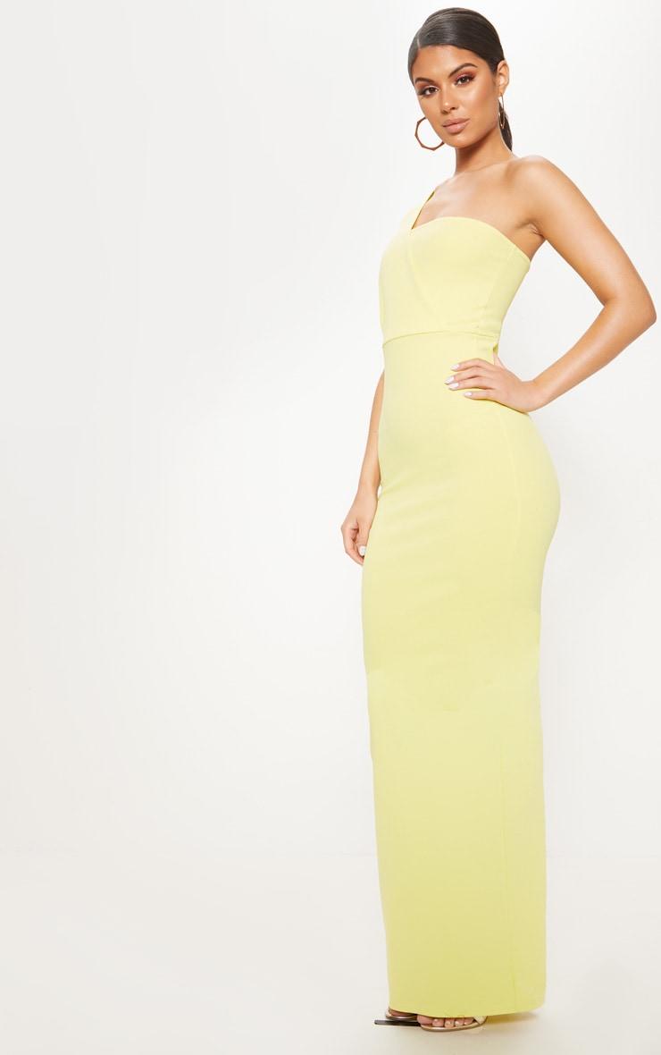 Light Lime One Shoulder Maxi Dress 4