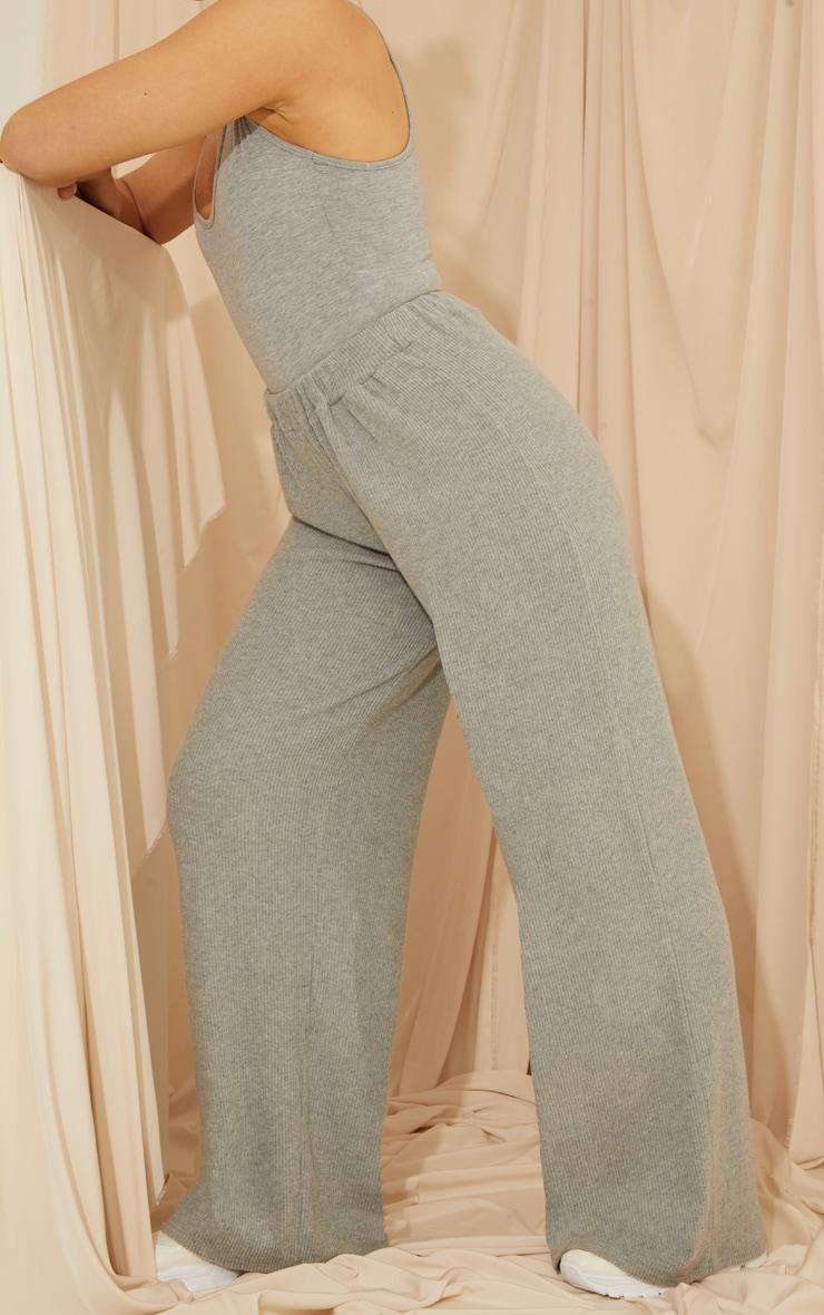 Grey Brushed Rib Wide Leg Pants 1