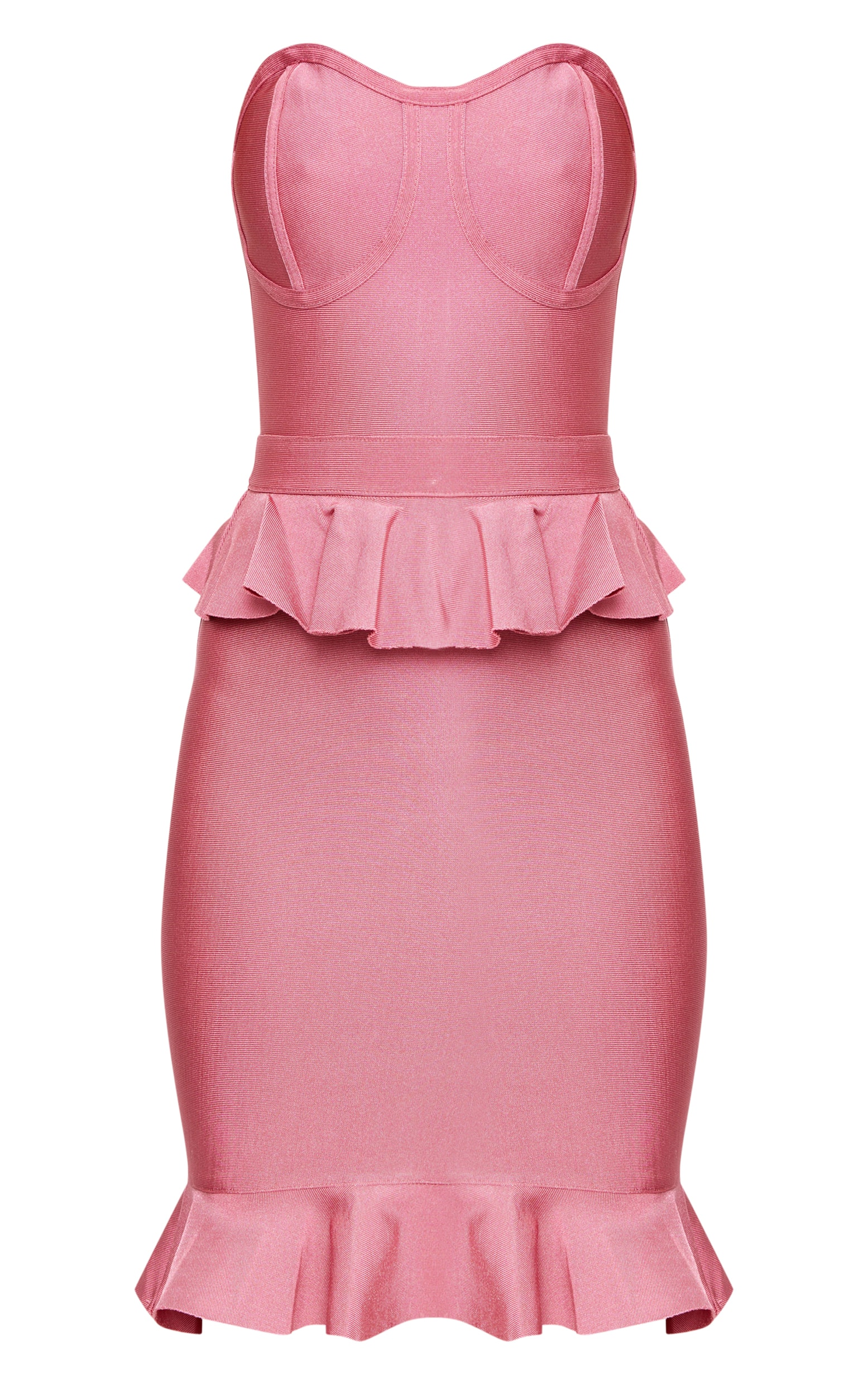 Rose Bandeau Bandage Frill Detail Bodycon Dress 3