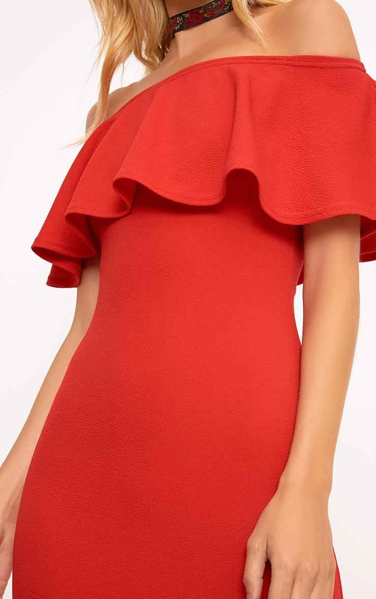 Red Frill Bardot Midi Dress 6