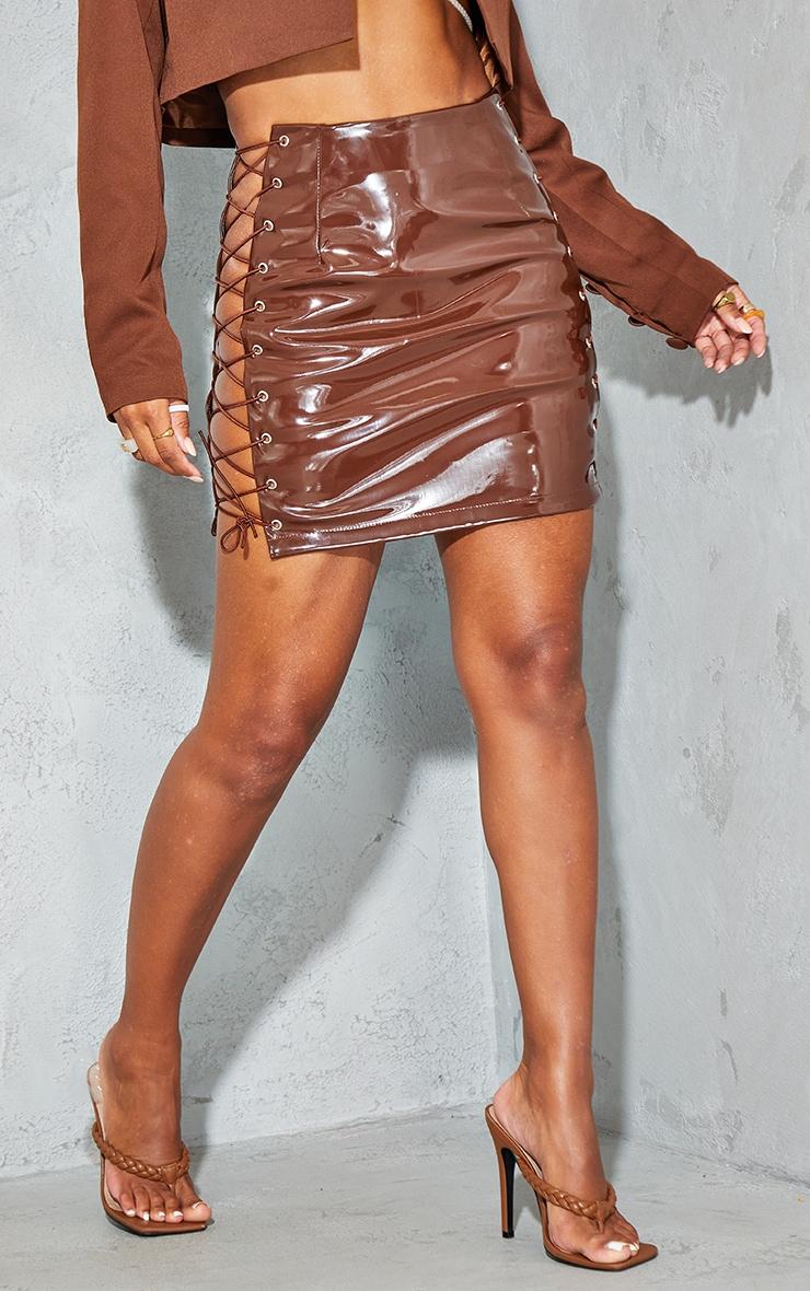 Chocolate Vinyl Lace Up Side Mini Skirt 2