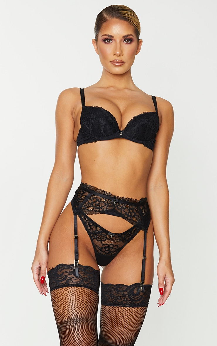 Black Ann Summers Sexy Lace Plunge Bra 1