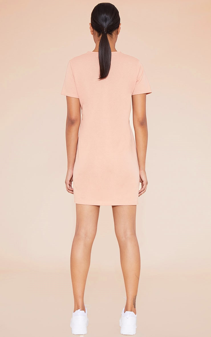 RECYCLED Pale Tan T Shirt Dress 5