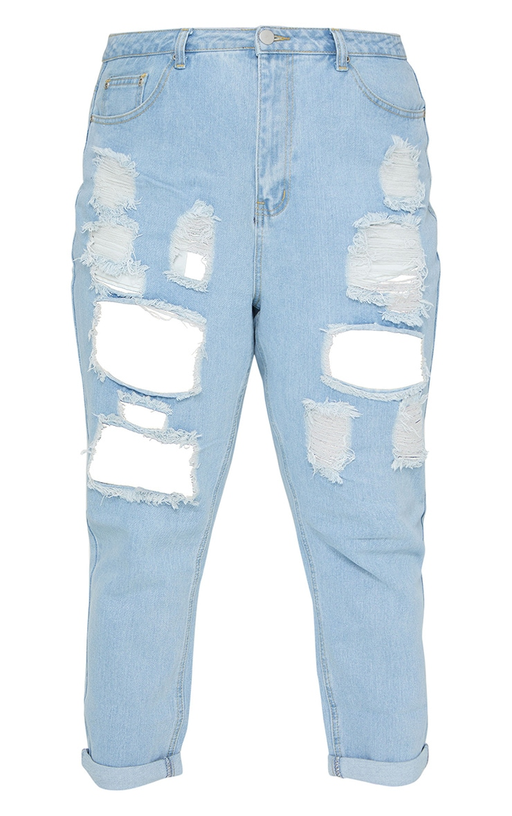 Plus Light Wash Super Distress Mom Jeans 5