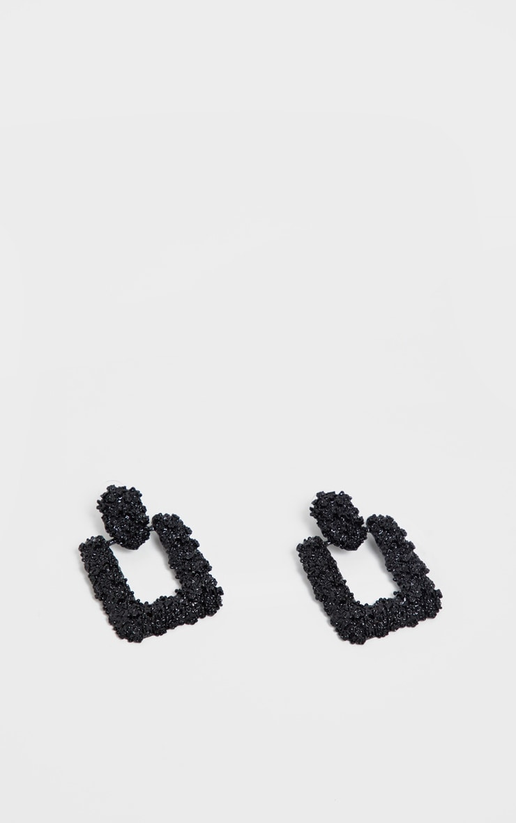 Black Textured Statement Door Knocker Earring 2