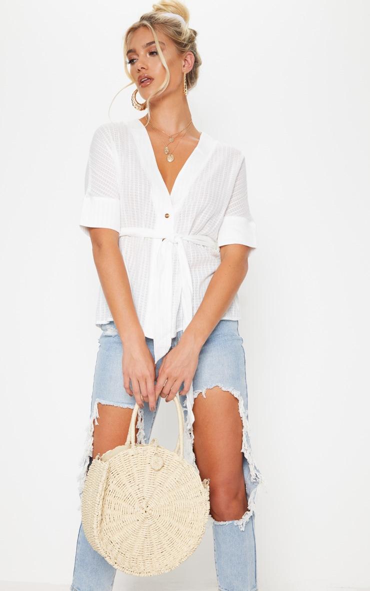 Cream Round Straw Handle Bag 2