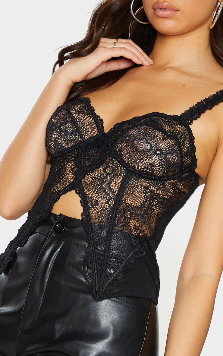 Black Lace Split Hem Corset 4