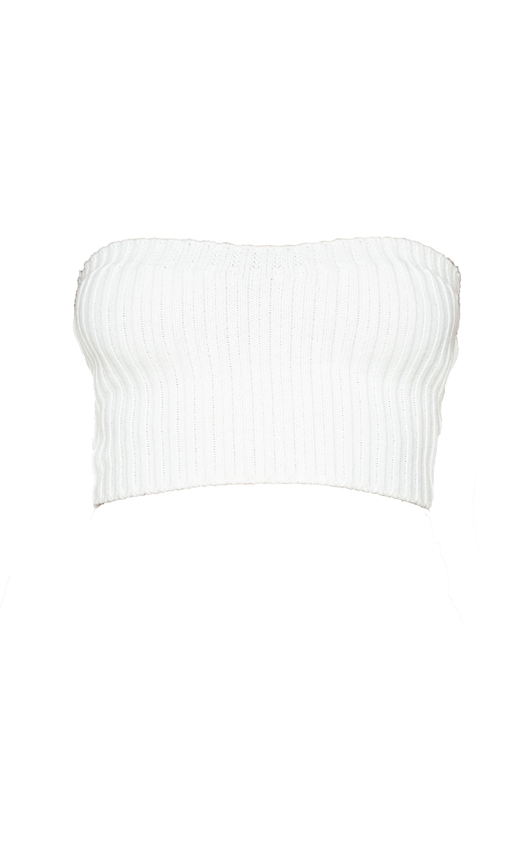 Cream Ribbed Knitted Bandeau Top 5