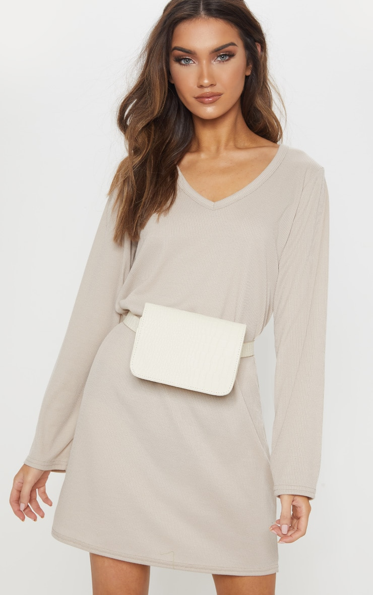 Sand V Neck Ribbed Long Sleeve T Shirt Dress 4