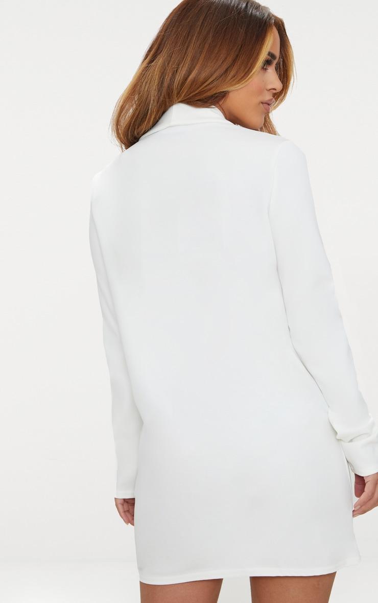 Petite White Gold Button Blazer Dress 3