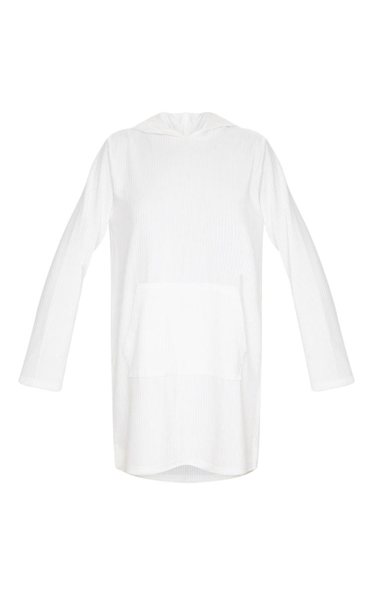 White Soft Rib Oversized Long Sleeve Hoodie Jumper Dress 2