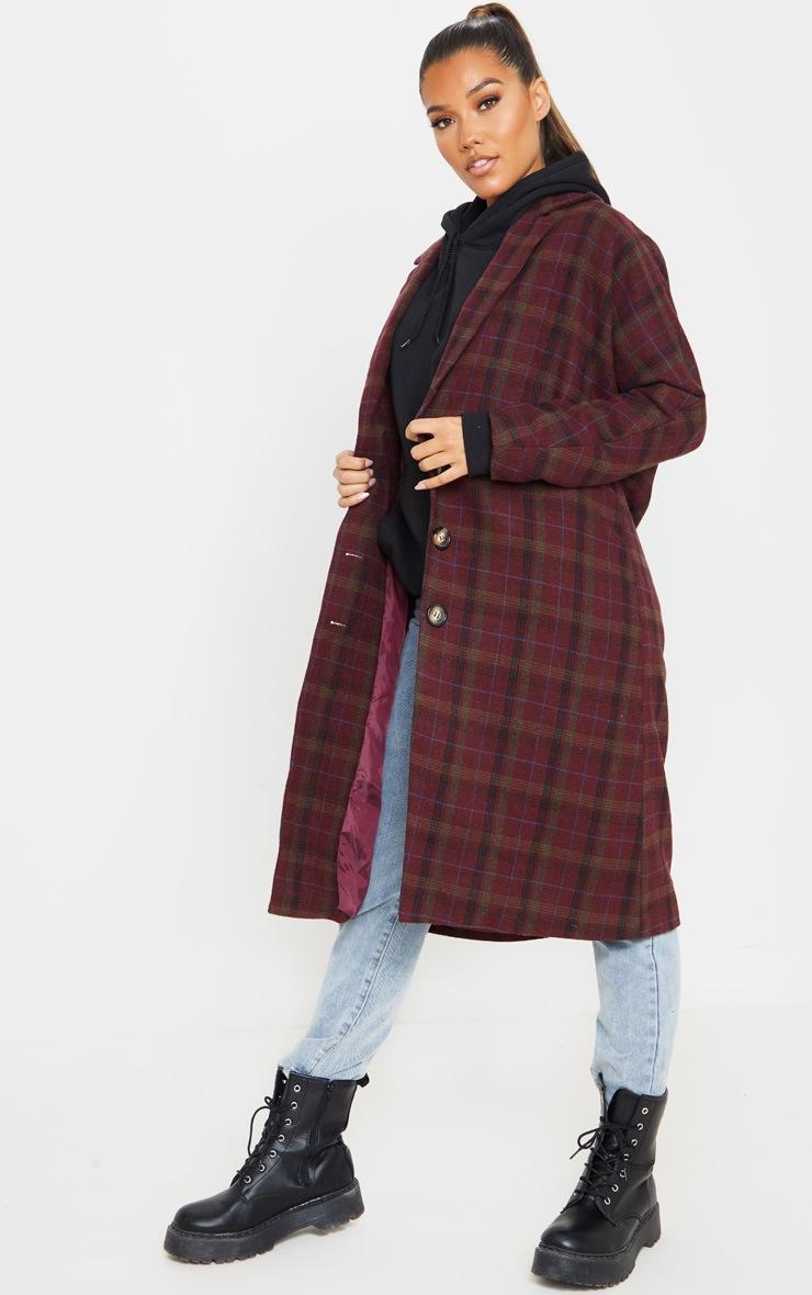 Burgundy Boyfriend Oversized Midi Coat 4