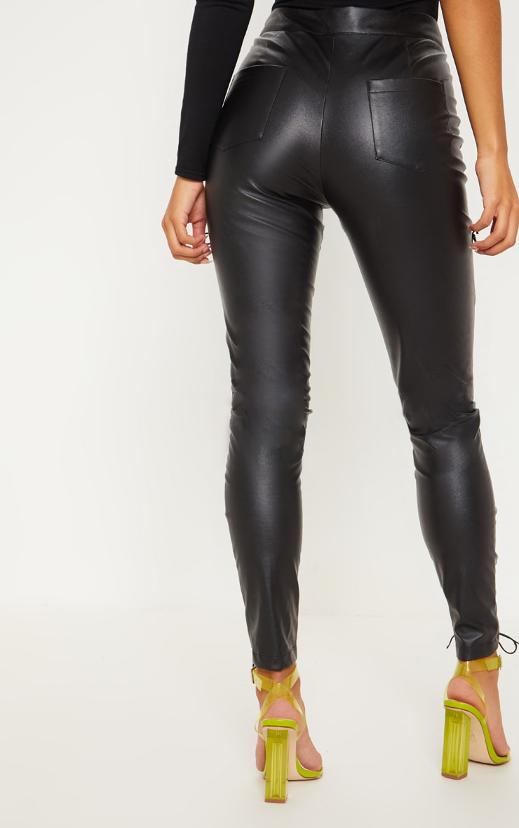 Black Faux Leather Lace Up Detail Skinny Pants 4