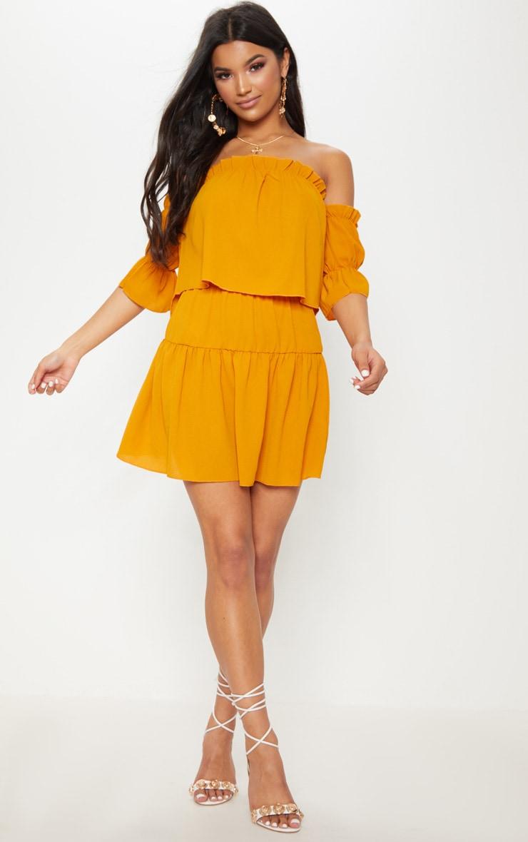 Mustard Chiffon Frill Hem Mini Skirt 5