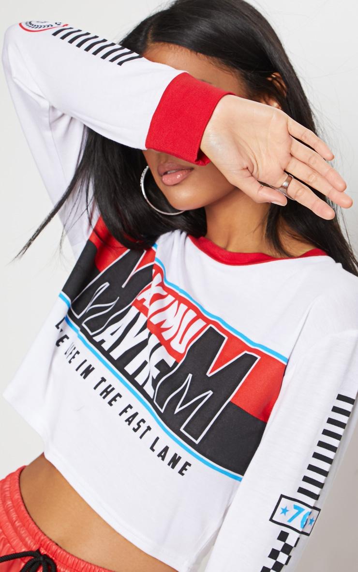 White Maximum Mayhem Slogan Long Sleeve Crop Top 5