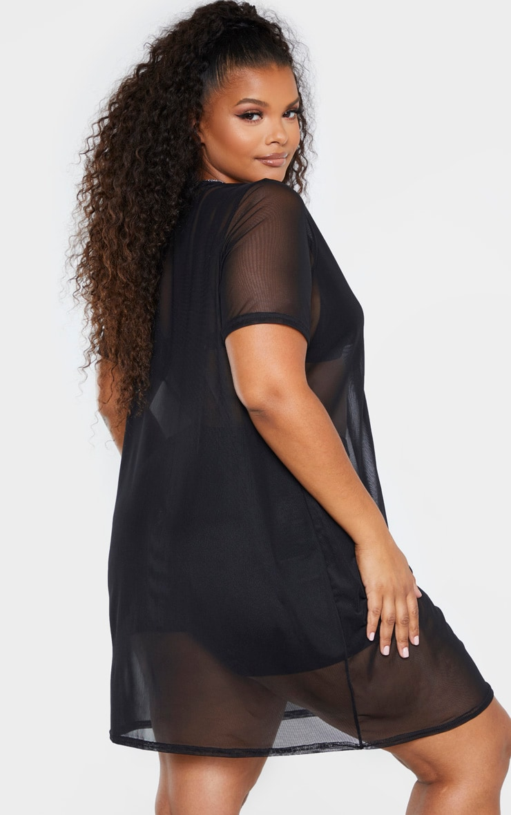 Plus Black Mesh T Shirt Dress 2