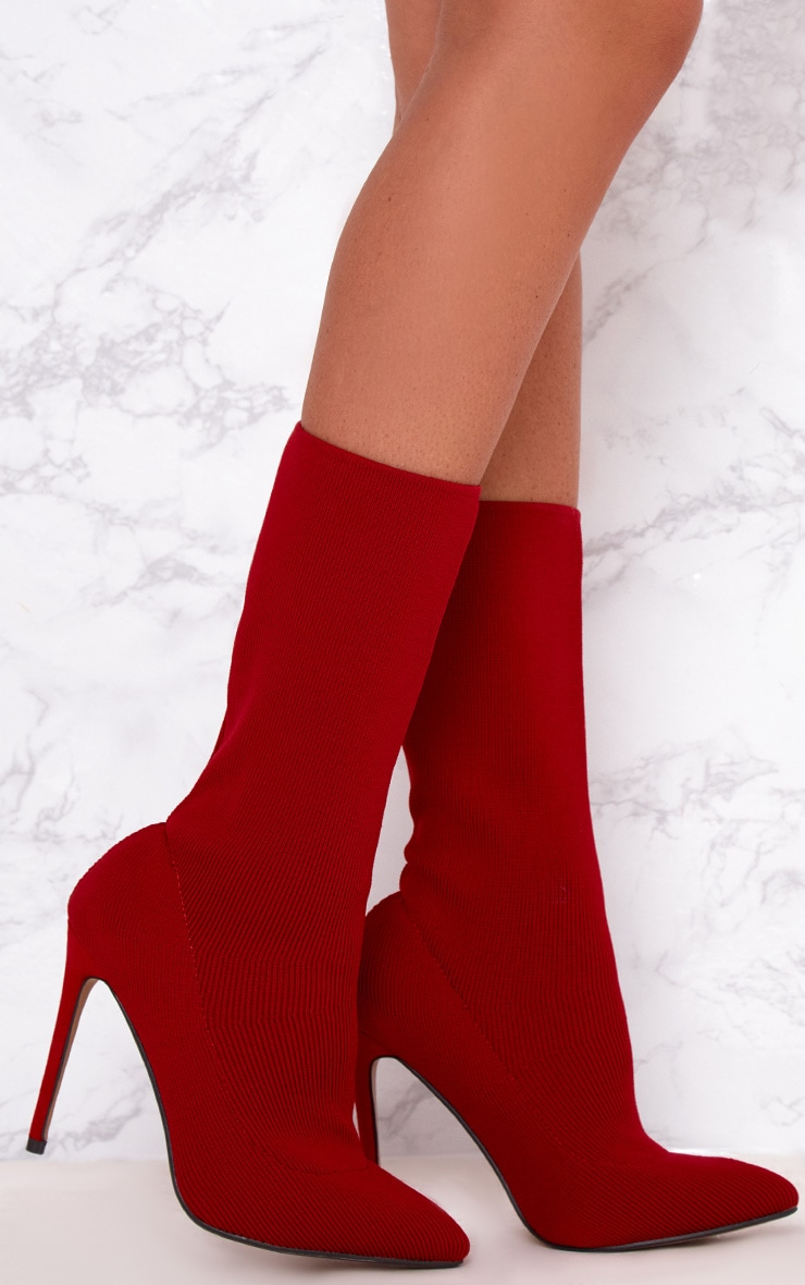 Red Knitted Pointy Sock Boots  1