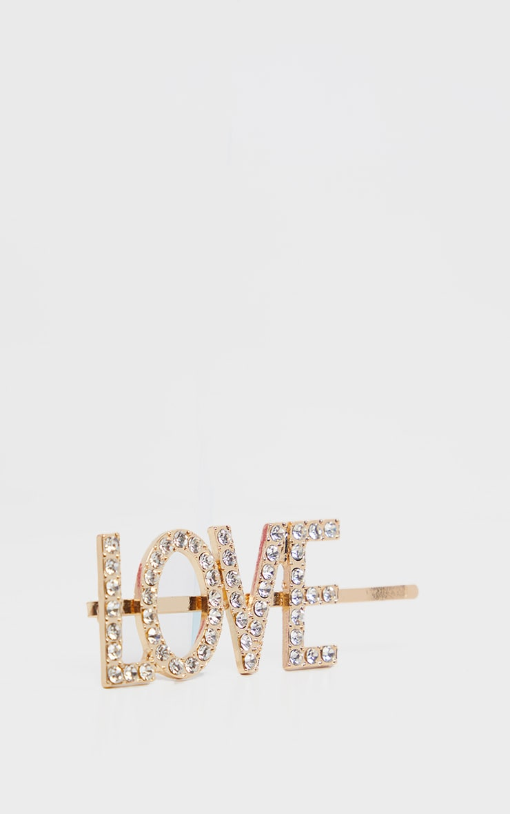 Gold Diamante Love Slogan Hair Slide 2